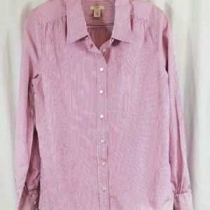 J Crew Pink White Stripe Button Front Shirt Top 10